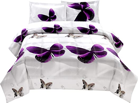 Butterfly Bedding 3D Printed 100/% Duvet Cover Set Full//Queen Size Purple 3 PCS