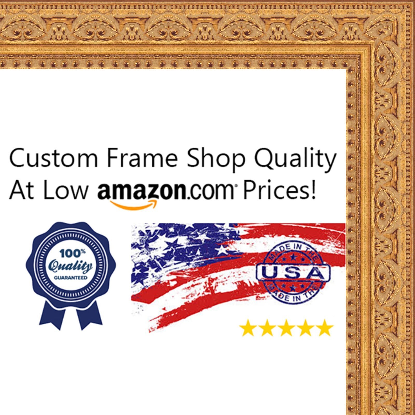 24x24 Ornate Gold Wood Picture Square Frame - UV Acrylic, Foam Board Backing, & Hanging Hardware Included!