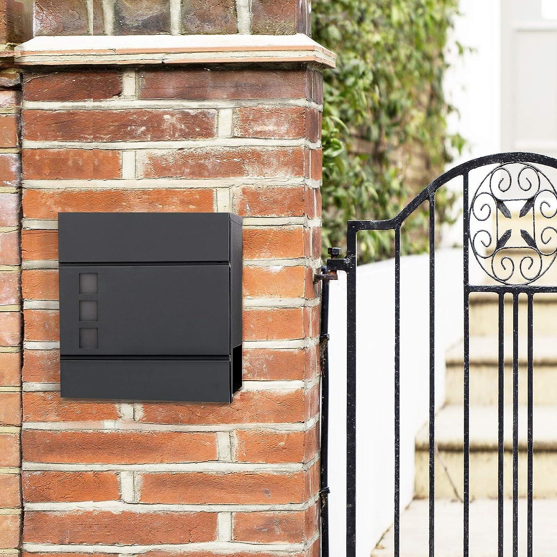 mit Zeitungsfach SONGMICS Briefkasten Wandbriefkasten abschlie/ßbar modern einfache Montage schwarz GMB052B01