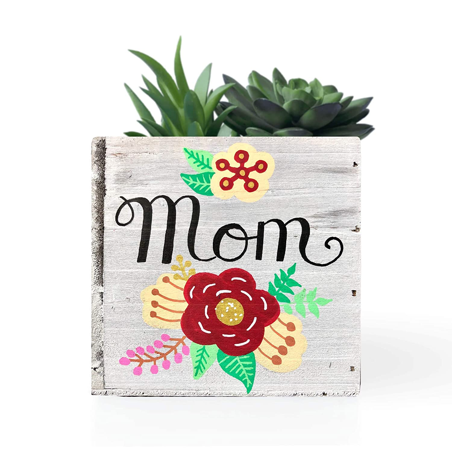 Whitewashed Wood Floral Decor Mothers Day Planter Mom Planter