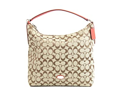 59171ced9b2fb Amazon.com  Coach 12CM Signature Celeste Hobo - Khaki Cardinal  Shoes