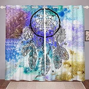 Erosebridal Dreamcatcher Window Curtains Watercolor Tie Dye Curtains 76