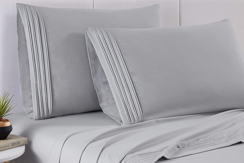 Spirit Linen Home Bed Sheets Set 4PC Pleated Better Sleep Ultra Soft Microfiber Sheet Set with Fitted Sheet Flat Sheet Pillowcases (Grey Lunar Rock, Queen)