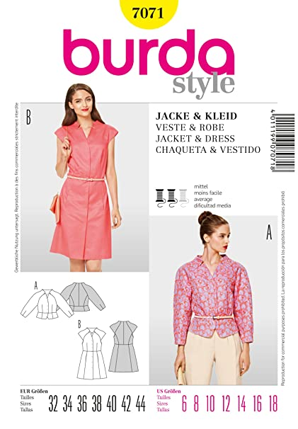 Burda Style Sewing Pattern 7071 - Misses Jacket 7 Dress, Semi-fitted (6