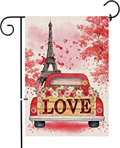 pinata Valentine Garden Flag 12 x 18 Inch Double Sided Red Truck Eiffel Tower Decorative Love Valentines Day Banner Sign, Small Burlap Yard Flag Spring Romatic Valentine's Day Home Outdoor Decor