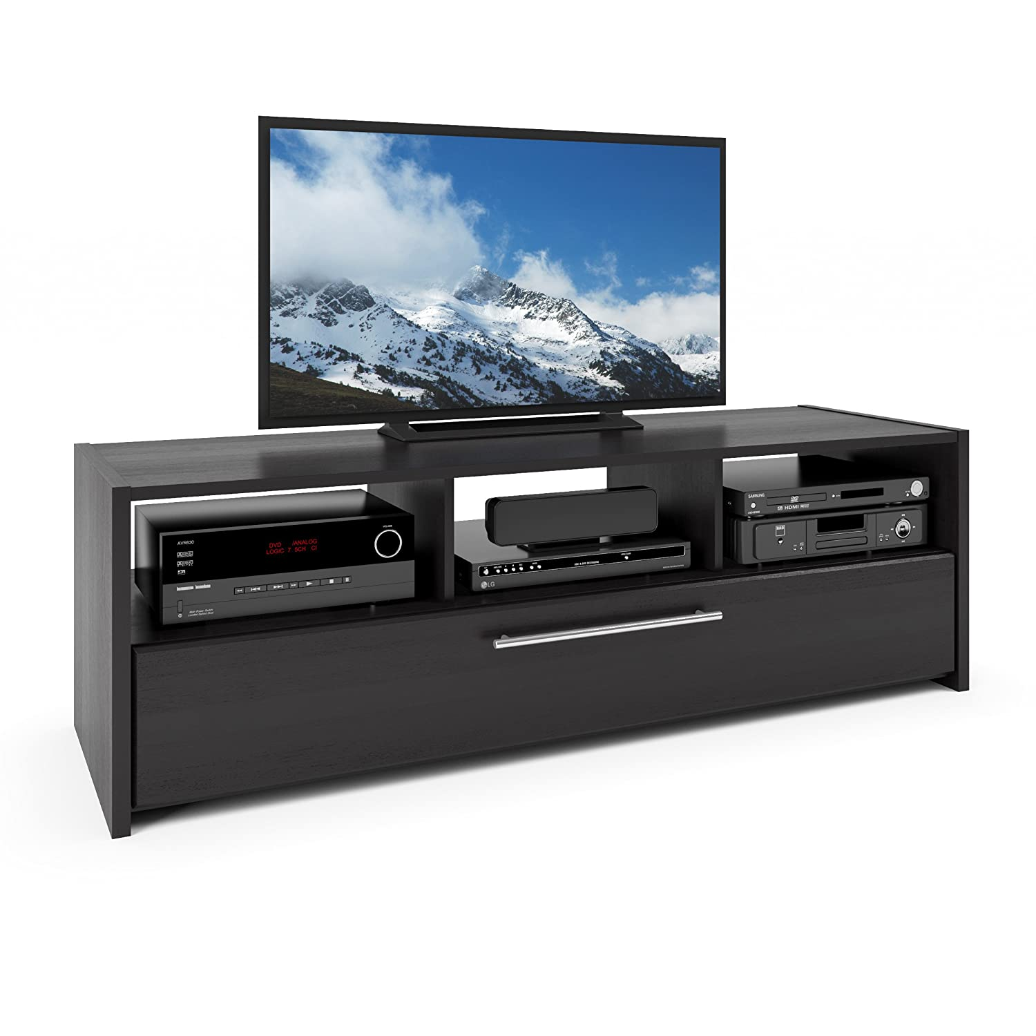 CorLiving TNP-608-B Naples TV/Component Bench in Wood Grain Black Corporate Images