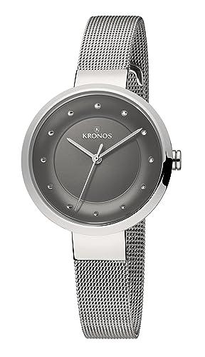 KRONOS - Ladies Black 997.8.52 - Reloj de señora de Cuarzo, Brazalete de Acero, Color Esfera: Gris: Amazon.es: Relojes
