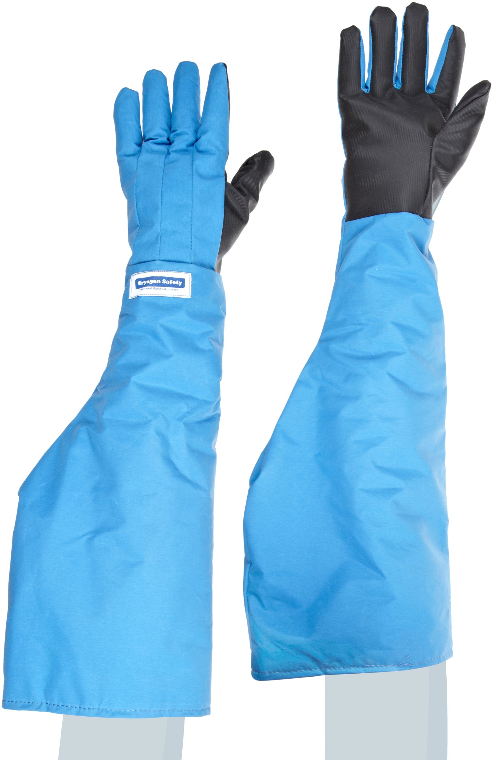 National Safety Apparel G99CRSGPLGSH Nylon Taslan and PTFE Shoulder Waterproof Safety Glove with SaferGrip Palm, Cryogenic, 26'' - 27'' Length, Large, Blue