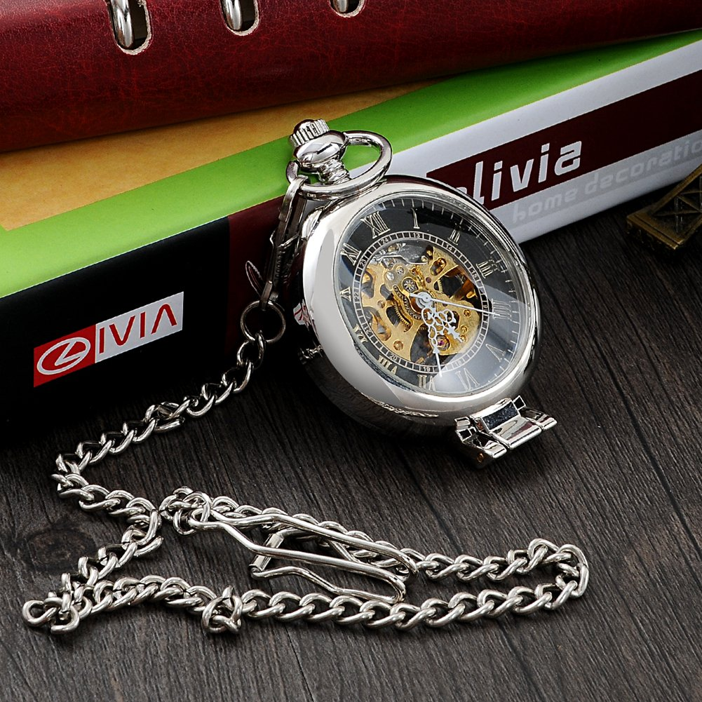 Steampunk Silver Skeleton Men Women Kids Metal Mechanical Pocket Watch by Top Fashion Watches (Image #5)