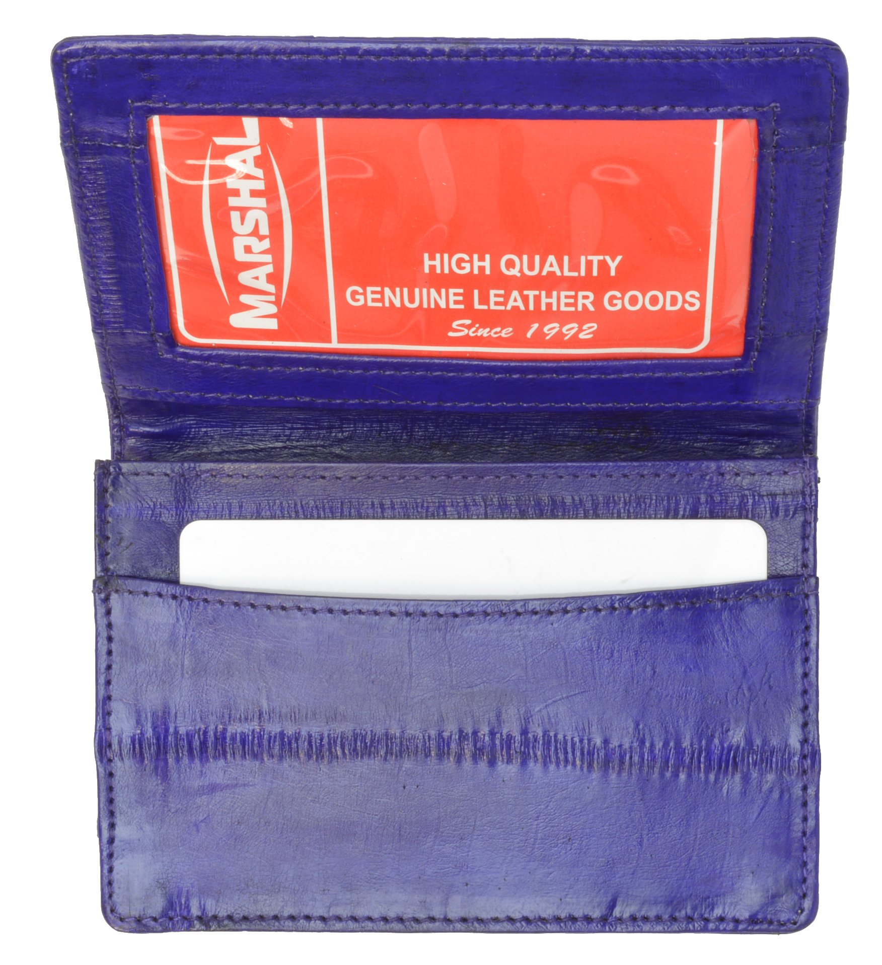 Eel Skin Soft Leather Business Card Credit Card Holder with Id Window by Marshal