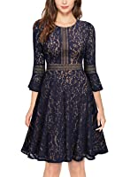 MissMay Women's Vintage Full Lace Contrast Bell Sleeve Big Swing A-Line Dress