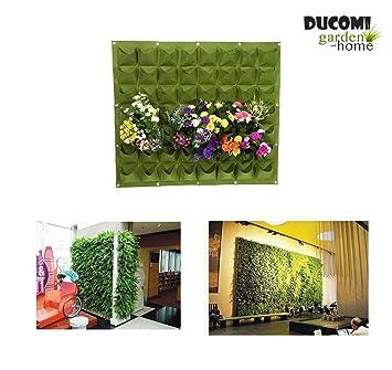 Ducomi Jardín Vertical – 56 bolsillos – Macetas de pared para decoración – Porta Plantas diseño
