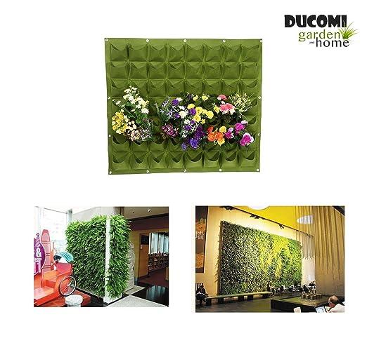Ducomi Jardín Vertical – 56 bolsillos – Macetas de pared para decoración – Porta Plantas diseño modular de colgar a pared – esterno Ed Interno – ...