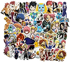 60PCS Fairy Tail Anime Stickers Laptop Stickers Bedroom Wardrobe Car Skateboard Motorcycle Bicycle Mobile Phone Luggage Guitar DIY Decal for Teens (Fairy Tail 60)