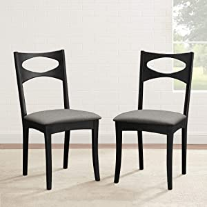 Walker Edison Mid Century Modern Wood Upholstered Armless Dining Chairs Kitchen, Set of 2, Black