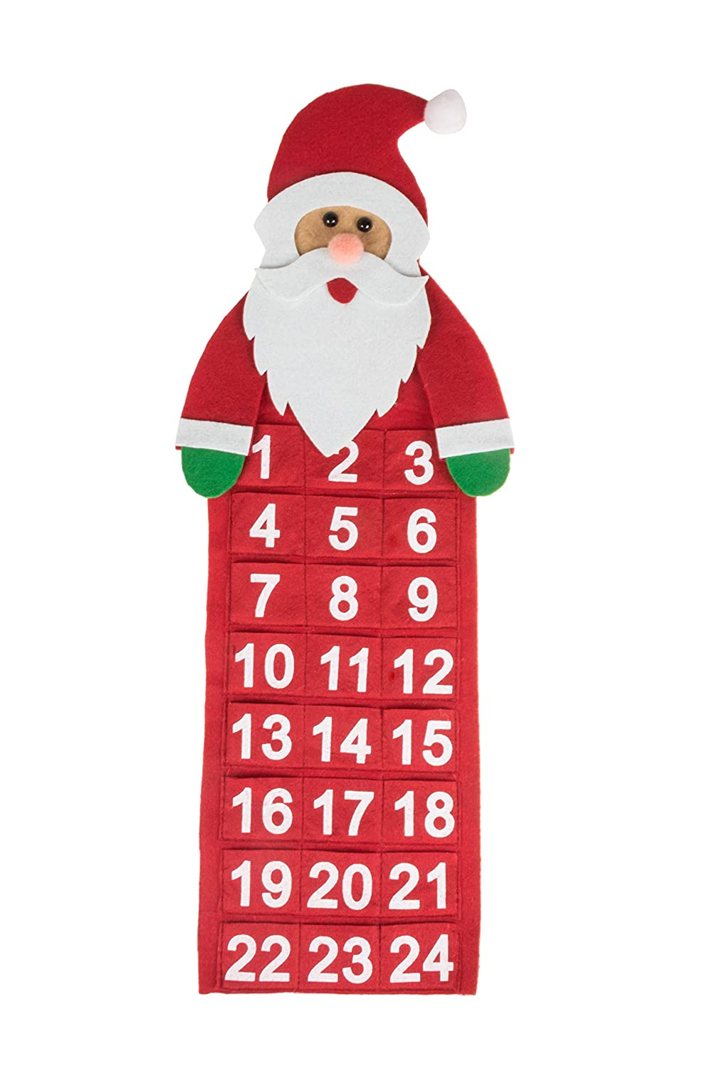 Christmas 24 Day Hanging Cloth Advent Calendar | Red and White Santa Claus' Face Christmas Design | Traditional Holiday Christmas Decor Theme | Perfect for Home or Office | Measures 20