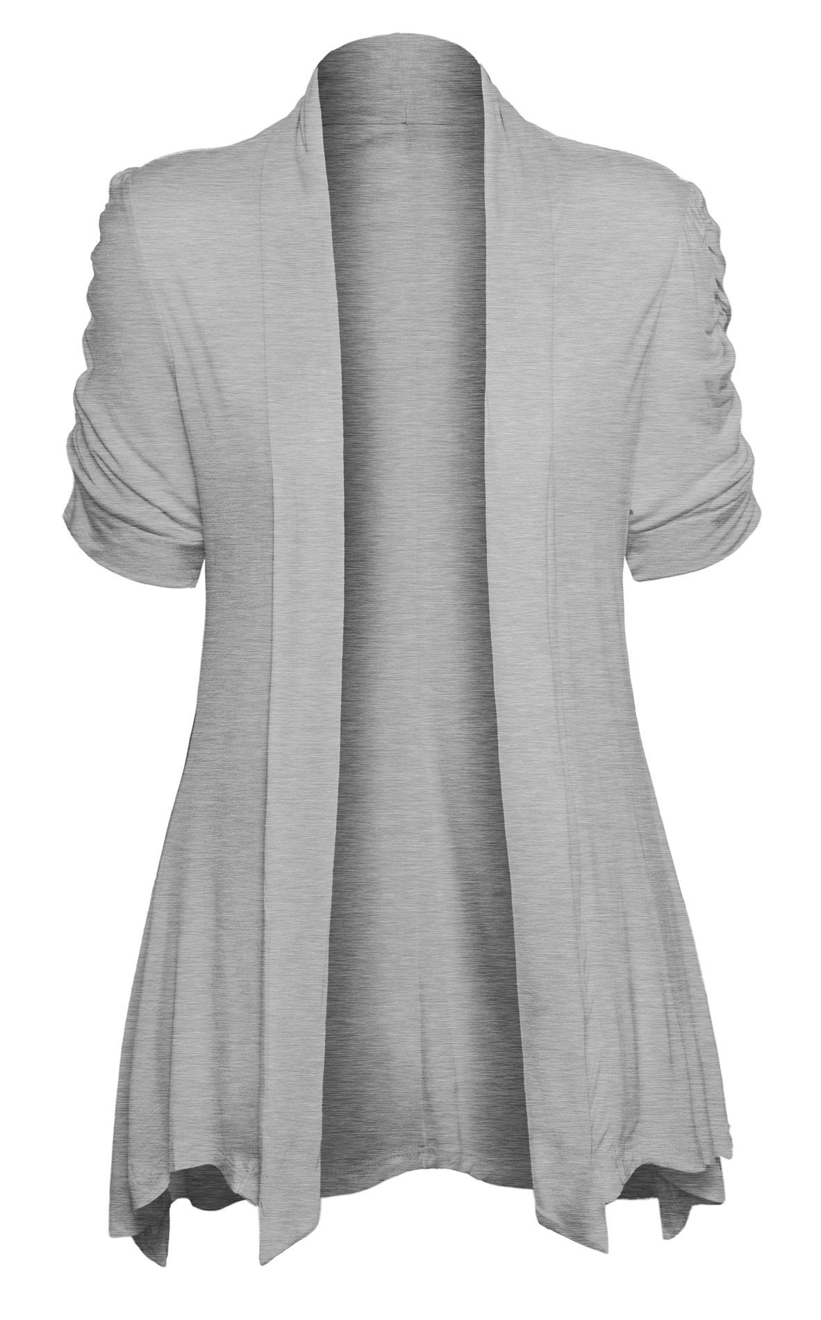 Womens Open Front Ruched Short Sleeve Shark Bite Hem Casual Plus Size Cardigan, Heather Gray, X - Large