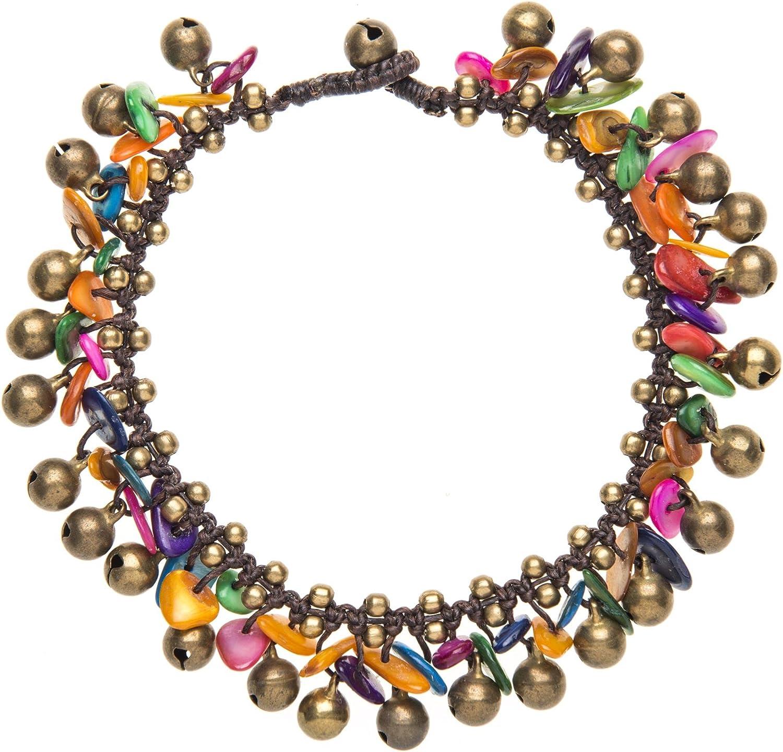 81stgeneration/Shell Laiton Perle Cloche dor Bracelet de cha/îne de Cheville Cheville