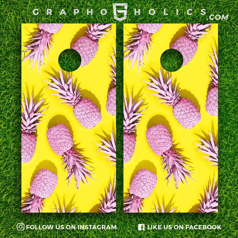 Cornhole Boards Wraps Set Pink Pineapple
