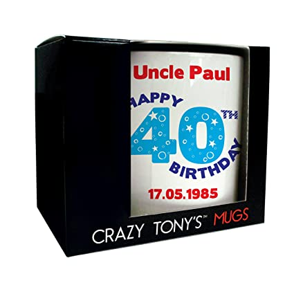Personalised 40th Birthday Mug Crazy Tonys Gift Gifts For Men Present Ideas Amazoncouk Kitchen Home