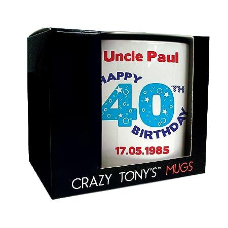 Personalised 40th Birthday Mug Crazy Tonys Gift Gifts For Men