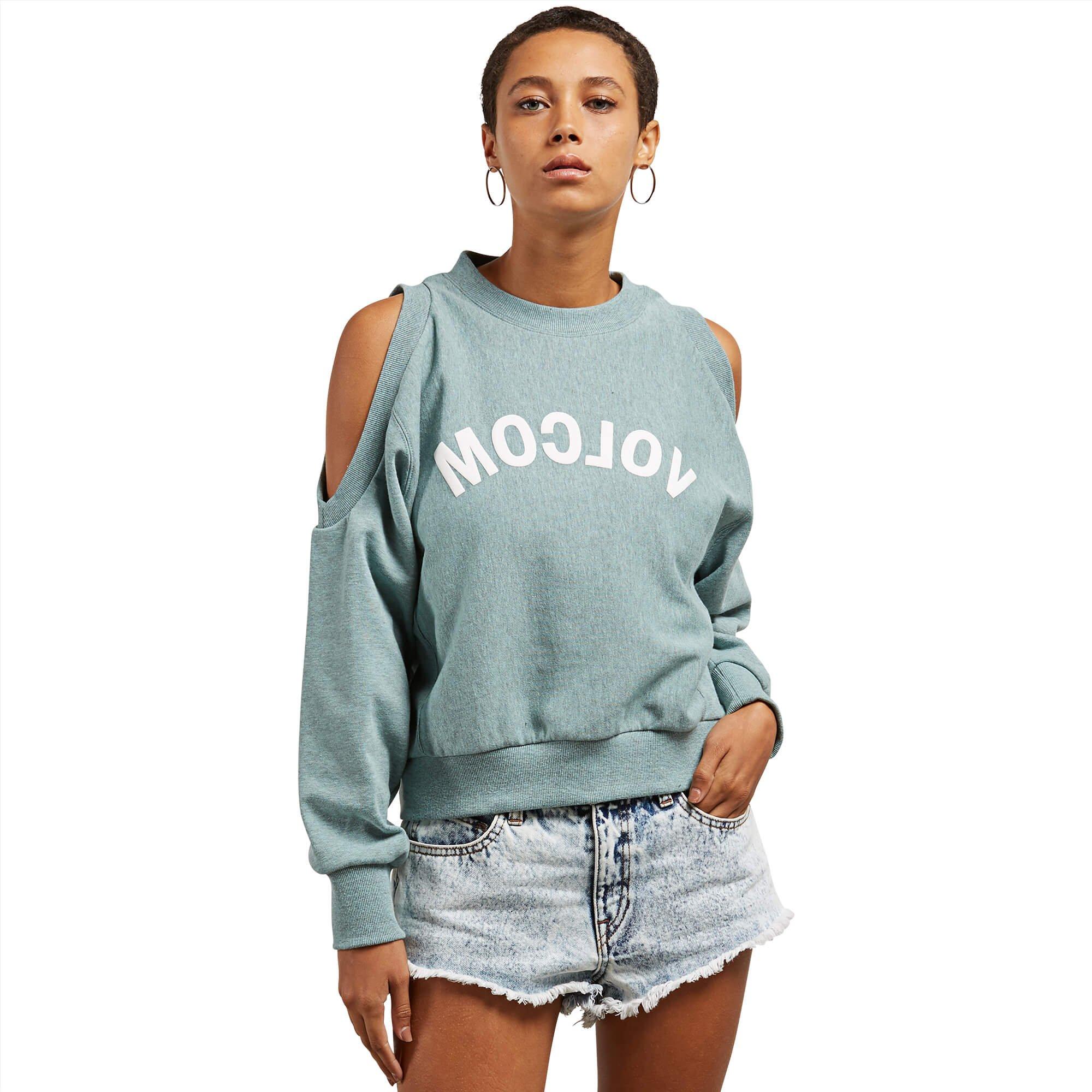 Volcom Junior's Edit N Crop Crew Neck Sweatshirt, Aqua, L