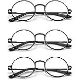 EYE ZOOM Metal Frame Round Reading Glasses with Spring Hinge (Black, Silver and Gunmetal)