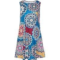 Demetory Women's Summer Floral Print Sleeveless Scoop Neck Tunic Dress with Pocket