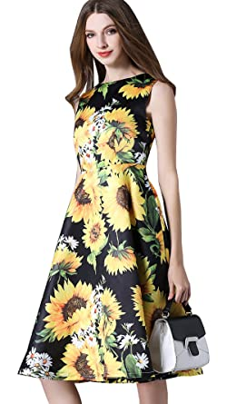 764de395483c Shineflow Women's Sleeveless Sunflowers Floral Printed A-line Knee Length  Midi Cocktail Dress (M