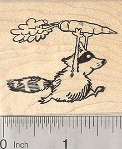 Garden Bandit Rubber Stamp, Raccoon Stealing Carrot