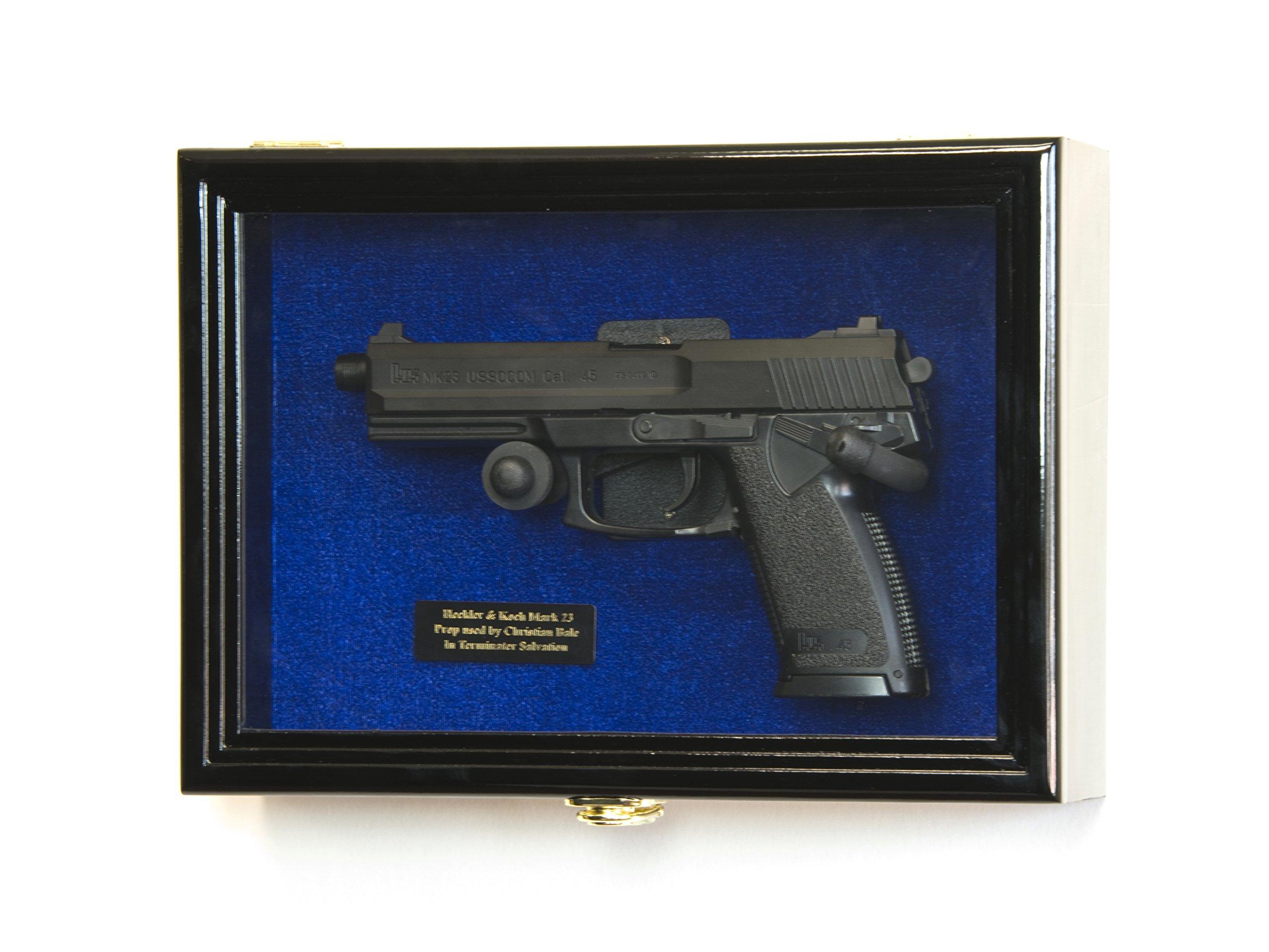 Single Pistol Display Case Wall Mount Solid Hardwood Cabinet (Black Finish, Blue Felt Background) by sfDisplay.com, Factory Direct Display Cases