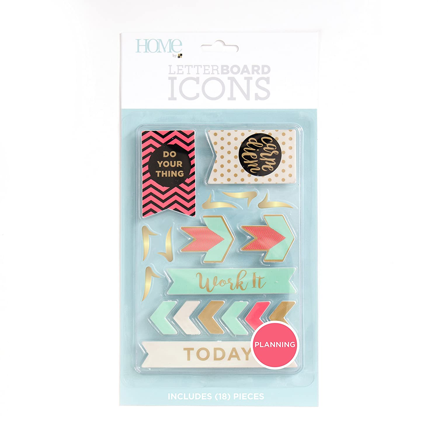 American Crafts 18 Piece Planning Icon Pack Die Cuts with a View Letterboards LP-006-00037