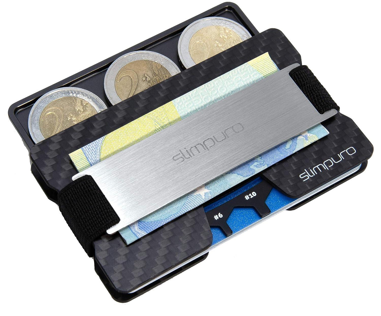 Portefeuille Protection Anti RFID//NFC SLIMPURO Porte Carte de Credit Homme Femme avec /Étui Porte Monnaie argent/és