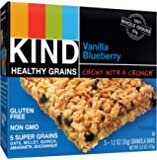KIND Healthy Grains Granola Bars, Vanilla Blueberry, Gluten Free, 1.2 oz Bars, 5 Count
