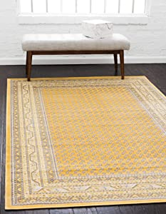 Unique Loom Williamsburg Collection Traditional Border Yellow Area Rug (10' 0 x 13' 0)