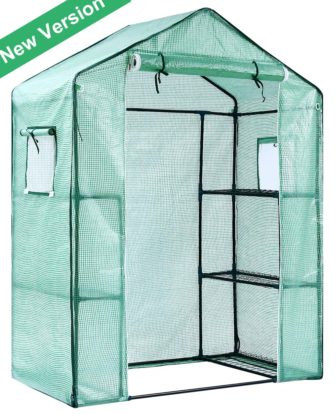 Ohuhu Greenhouse for Outdoors with Observation Windows, 2019 New Version Small Walk-in 3 Tiers 6 Shelves Stands Plant Green House for Seedling, Flowers, Plant Growing, 4.7 x 2.4 x 6.4 FT