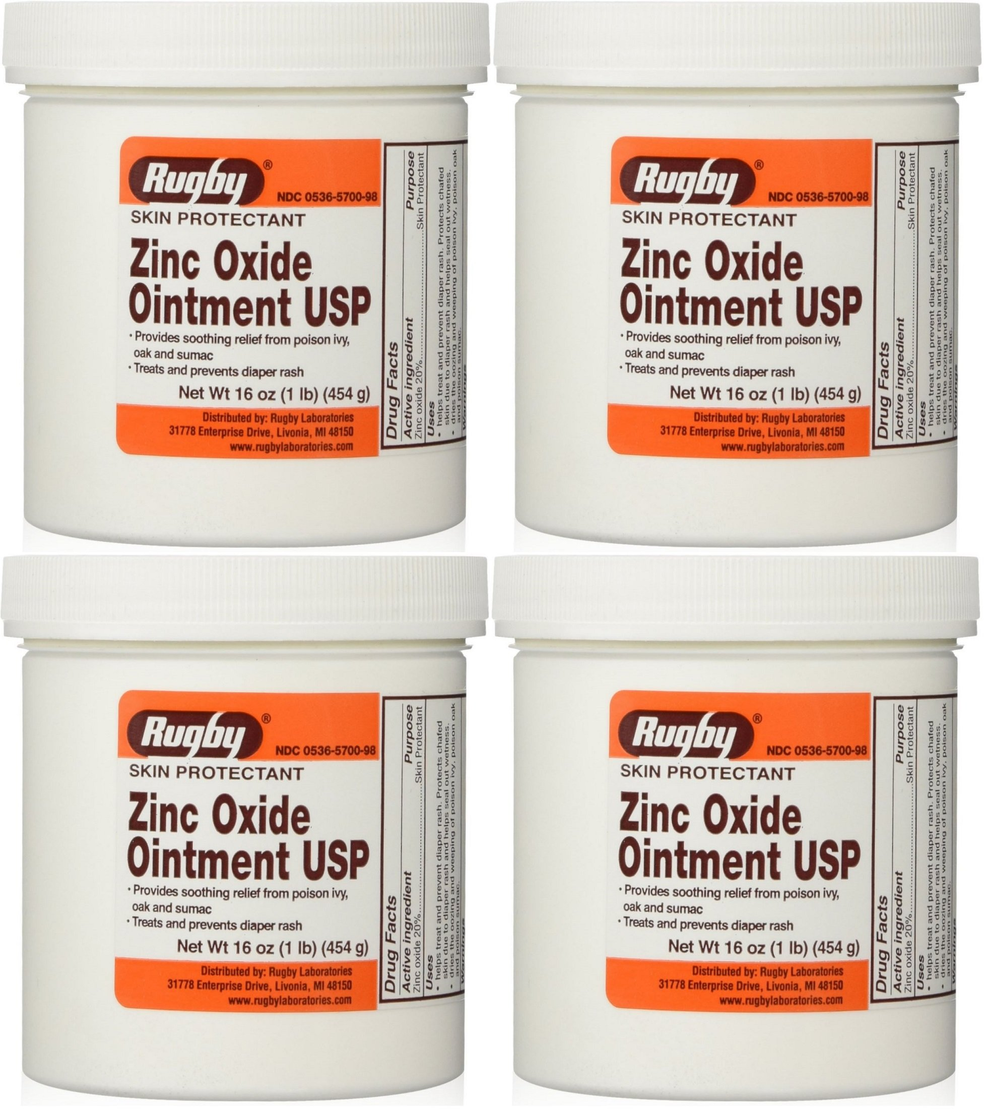 Zinc Oxide 20 % Skin Protectant Ointment for Diaper Rash, Chaffed Skin 1 Lb. Jar Pack of 4 Jars Total 4 Lb's (4) by Rugby