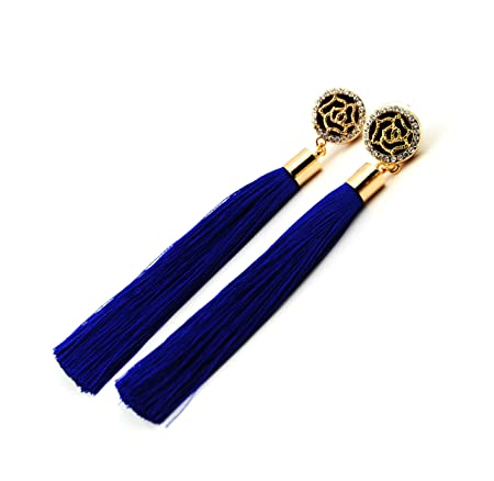 Royal Blue Tassel Earrings with Gold Rose and Diamante Feature UK Qijp7j