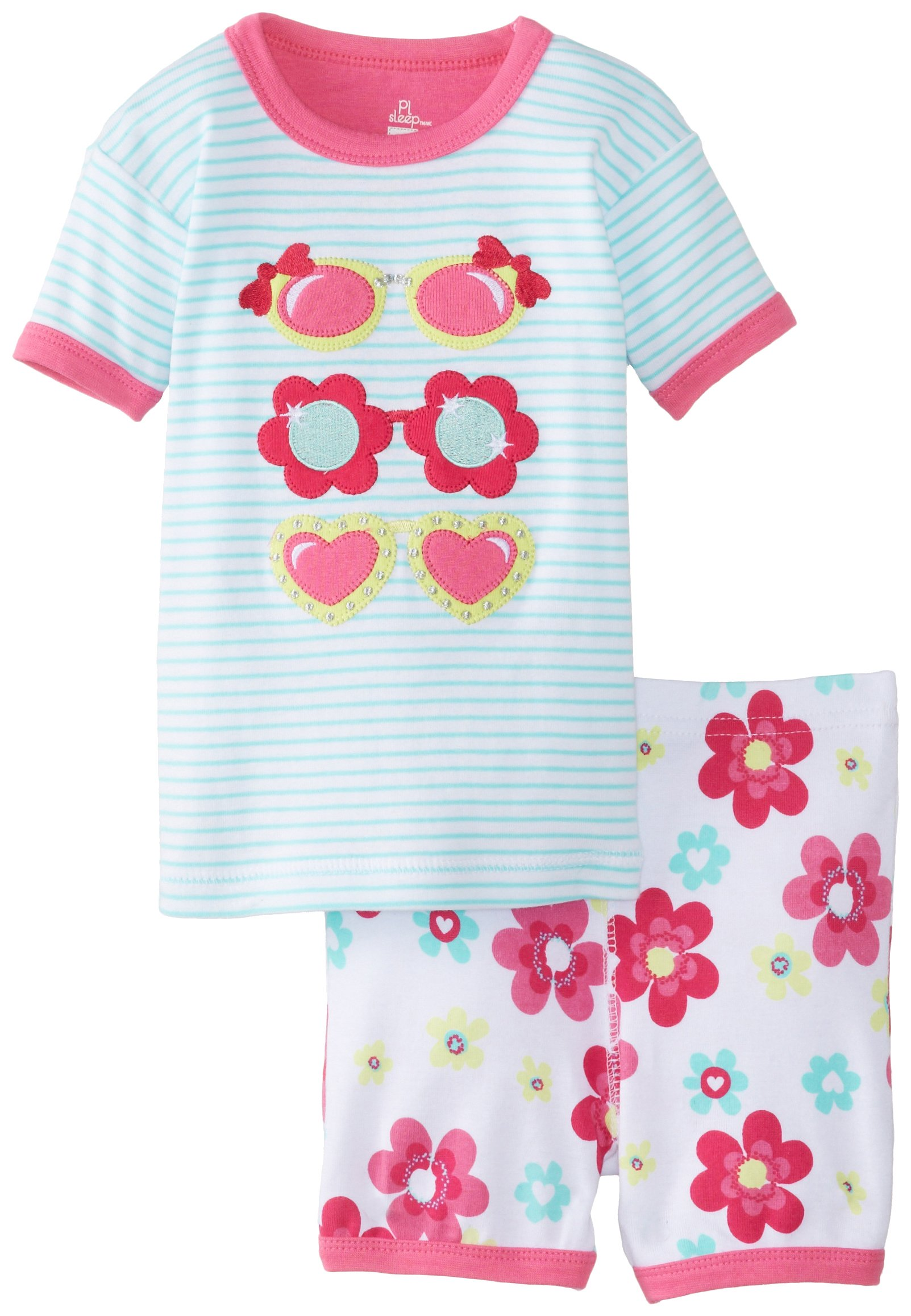 Petit Lem Baby Girls' Safari Sunglasses Short Set, Turquoise Stripe, 12 Months