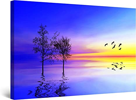 Amazon Com Startonight Canvas Wall Art Surreal Blue Landscape Water Tree And Sunset Painting Framed 32 X 48 Posters Prints