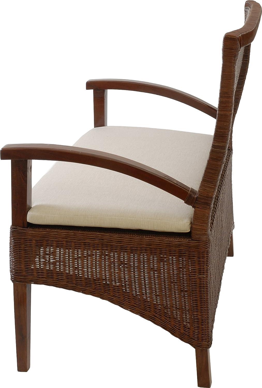 korb.outlet Sitzbank auf stabilem Holzrahmen mit Sitzpolster K/üchenbank aus echtem Rattan in der Farbe Braun