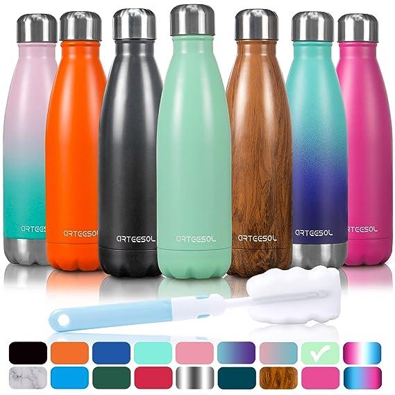 Arteesol Botella Agua Acero Inoxidable Termos [35ml/500ml/750ml] Botella Aislada sin BPA Calientes y Frías por 12H: Amazon.es: Deportes y aire libre