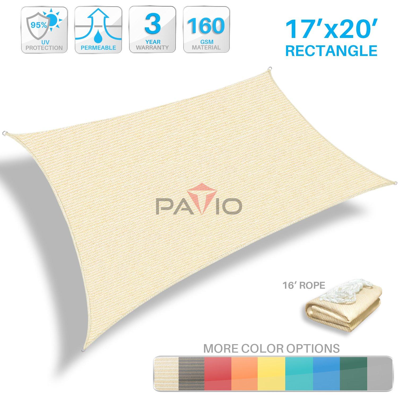 Patio Paradise 17' x 20' Tan Beige Sun Shade Sail Rectangle Canopy - Permeable UV Block Fabric Durable Patio Outdoor - Customized Available