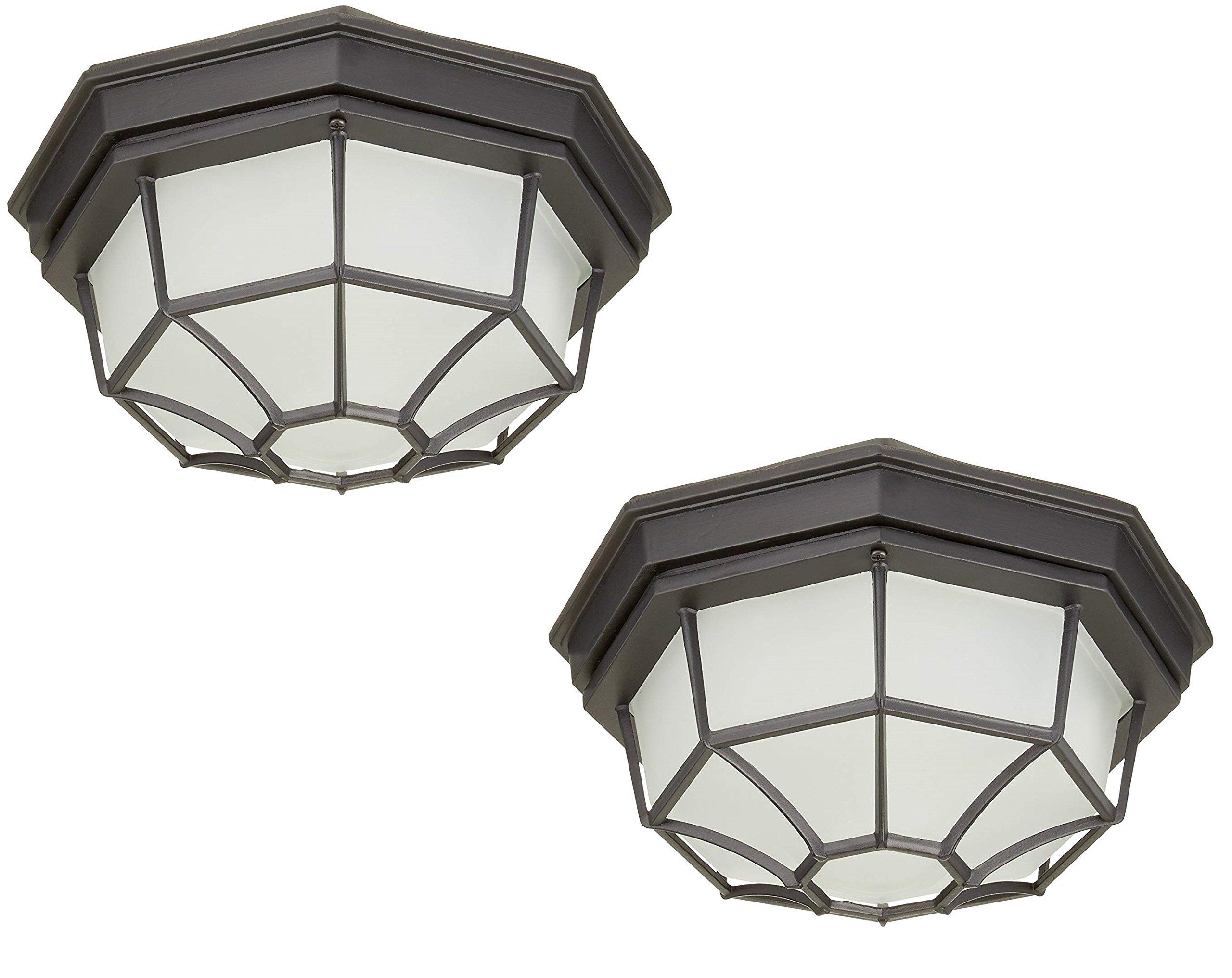 Trans Globe Lighting 40582 BC Outdoor Benkert 5'' Flushmount Lantern, Black Copper (Black Copper 2 Pack)