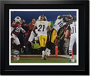 "Santonio Holmes of the Pittsburgh Steelers Autographed Photo in a 20""x24"" Frame Photograph Double Matted Museum Quality Custom 20""x24"" Framed with COA"