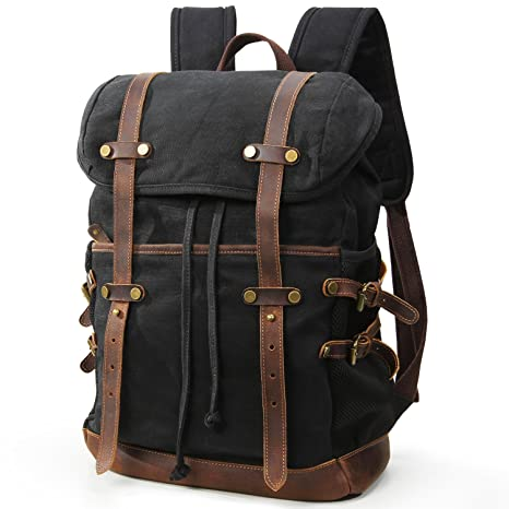 Amazon.com: Lifewit Waxed Canvas Backpack Waterproof 15.6 Inch Laptop Casual School College Bags Travel Rucksack: Clothing
