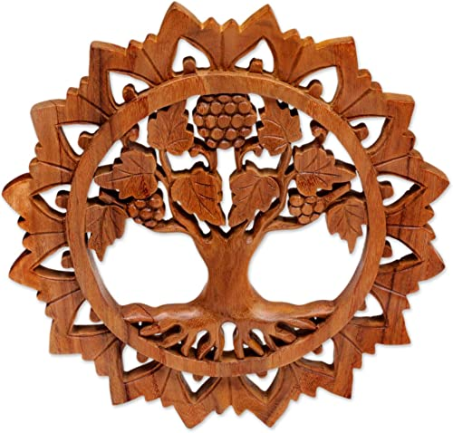 NOVICA Grape Vine and Flower Hand Carved Round Wood Wall Sculpture