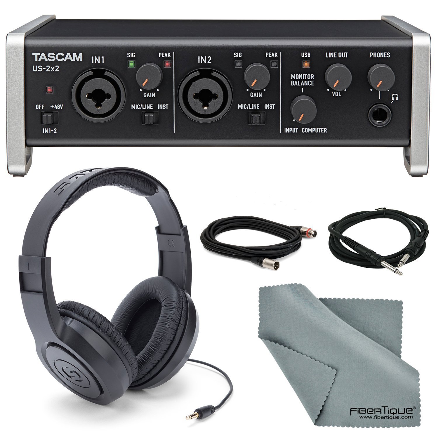 """Tascam US-2x2 2-Channel USB Audio Interface Bundle with 1 ¼"""" Cable +1 XLR Cable + Samson Stereo Headphones+ Fibertique Cleaning Cloth"""