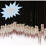 Cali&Brita 筆 100本 セット メイクアップ モデリング ブラシ 極細 面相筆 メイク ネイル 水彩 フィギュア プラモデル 塗装 (ブラック)