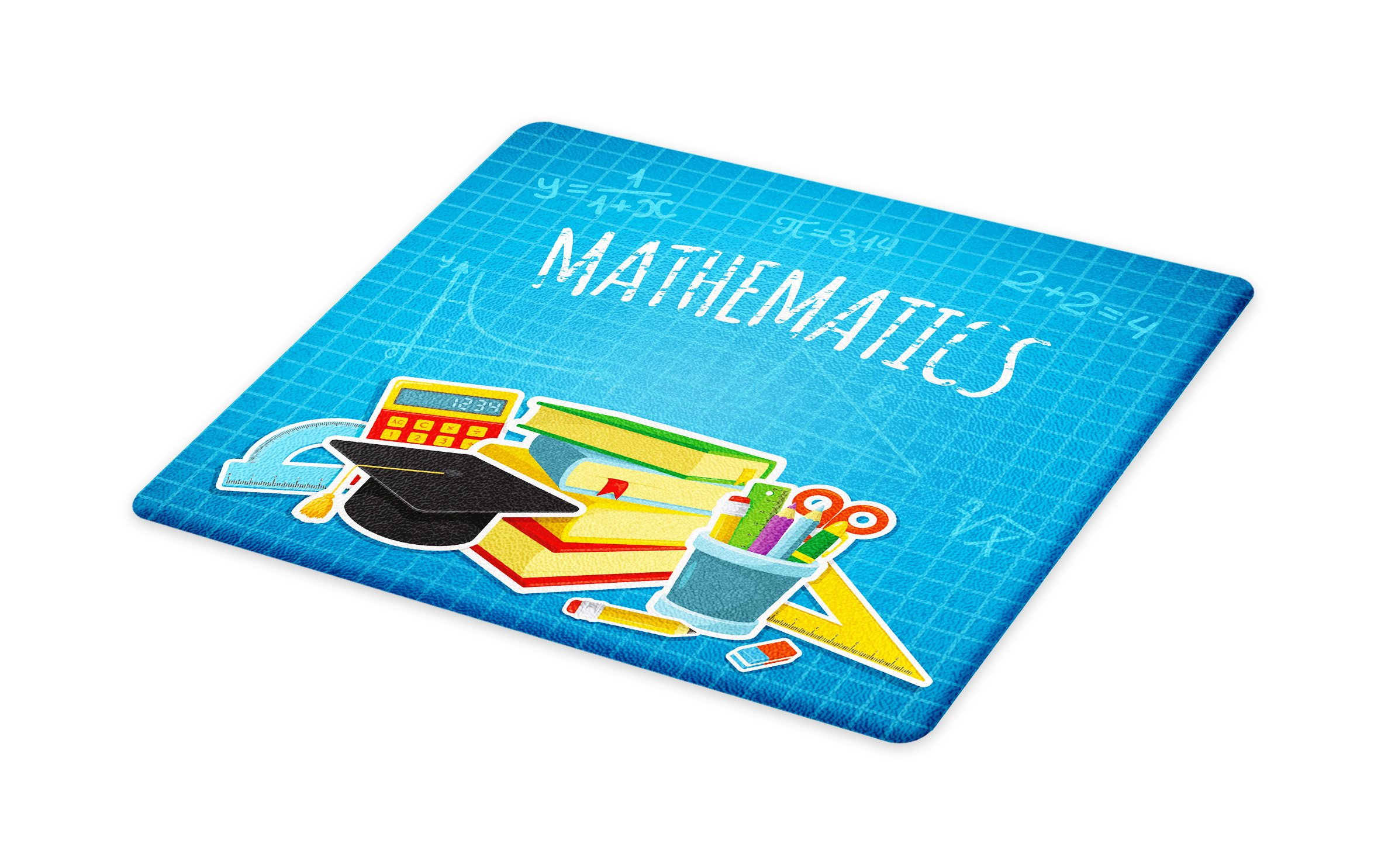 Lunarable Mathematics Classroom Cutting Board, Education Science Concept School and College Supplies Set Books Cap, Decorative Tempered Glass Cutting and Serving Board, Large Size, Multicolor
